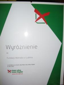 """Wyroznienie za udział w akcji """"Masz Głos"""" 2012"""