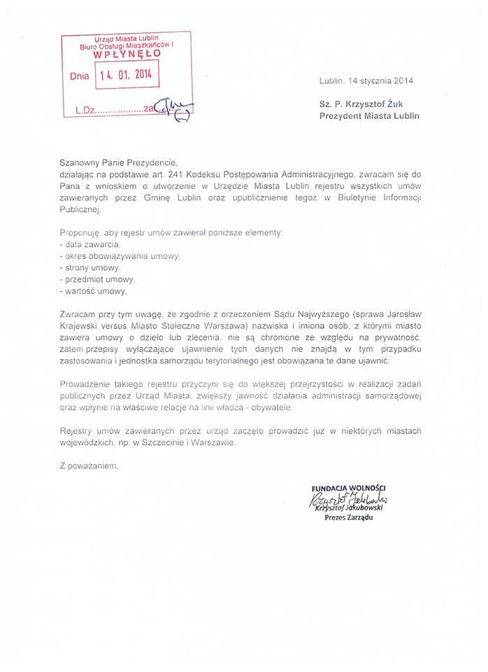 Wniosek o rejestr umów
